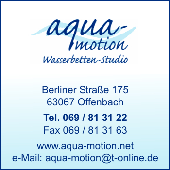 aqua motion wasserbetten studio in offenbach am main branche n wasserbetten bei adressbuch. Black Bedroom Furniture Sets. Home Design Ideas