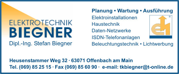 biegner elektrotechnik dipl ing stefan in offenbach am main branche n. Black Bedroom Furniture Sets. Home Design Ideas
