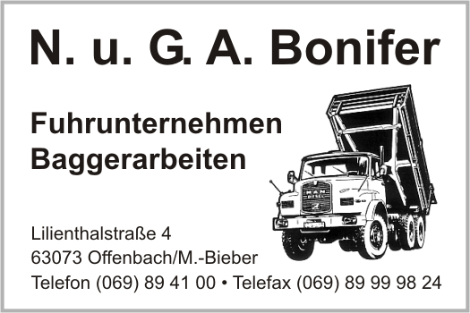 bonifer ohg n u g a in offenbach am main branche n baggerarbeiten fuhrunternehmen bei. Black Bedroom Furniture Sets. Home Design Ideas