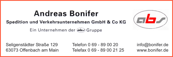 bonifer andreas spedition u verkehrsunternehmen gmbh co kg in offenbach am main branche n. Black Bedroom Furniture Sets. Home Design Ideas