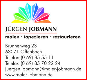 jobmann j rgen in offenbach am main branche n malerbetriebe bei adressbuch der stadt. Black Bedroom Furniture Sets. Home Design Ideas