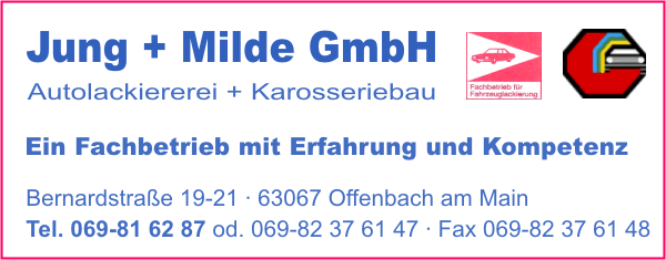 jung milde gmbh in offenbach am main branche n autolackierereien karosseriebau bei. Black Bedroom Furniture Sets. Home Design Ideas