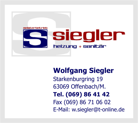 siegler wolfgang in offenbach am main branche n b der sanit re installationen spenglereien. Black Bedroom Furniture Sets. Home Design Ideas