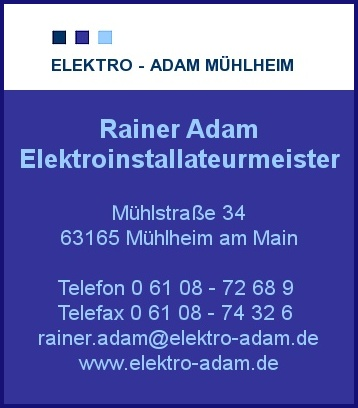 elektro adam in m hlheim am main branche n elektroinstallationen bei adressbuch der stadt. Black Bedroom Furniture Sets. Home Design Ideas